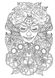 Beautiful Sugar Skull Colouring Page Sugar Skulls Day Of The