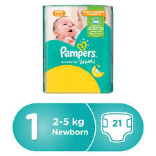 Pampers New Baby Dry Diapers Size 1 Newborn 2 5 Kg Carry Pack 21 Count
