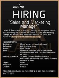 Position: Sales And Marketing Manager Qualification: Masters From A ...