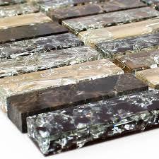 mosaic tiles glass natural stone broken sticks dark emperador
