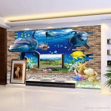 3d wallpaper mural 3d seabed fish wall sticker nursery wall decor baby fish ocean underwater world wallpaper home decor animated desktop wallpapers