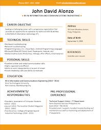 Unique Example Of Curriculum Vitae Philippines With Resume