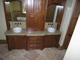 bathroom double vanities ideas. Bathroom. Brown Wooden Bathroom Double Vanity Having Marble Top And Round White Bowl Sink Vanities Ideas