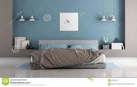 Blaues Und Braunes Modernes Schlafzimmer Stock Abbildung