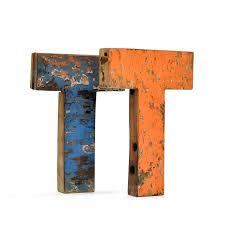 recycled wooden letter t letra madera colgar decorativa bonita mono t