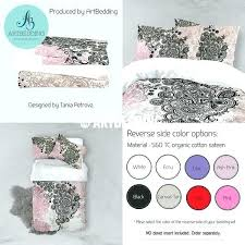 tea rose bedding set pink and black gold metallic foil effect chic comforter