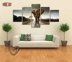 5 Piece Canvas Art Wall Art Prints Painting Elephant Picture