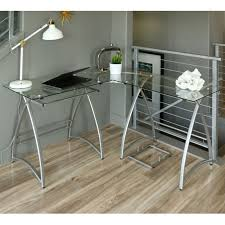 walker edison alexa l shaped glass computer desk silver with clear design 14