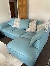 dfs large duck egg blue corner sofa