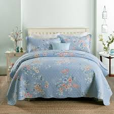 blue cotton quilt. Unique Blue CHAUSUB Quality Summer Quilt Set 3PCS Blue Cotton Quilts Quilted Bedspread  Bed Cover Sheets Pillowcase Coverlet Intended