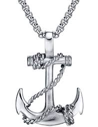 arco iris jewelry men s stainless steel rope anchor pendant necklace com