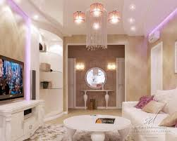 cozy living room with tv. Comfortable Living Room With Wooden Tv Stand Cozy White Sofa Simple Bookshelf And Chandelier Image