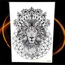 черная хна временная татуировка индийский племенной лев тотем