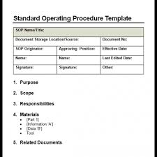 Standard Operating Procedure Examples Template Business