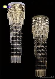 long crystal chandelier unique modern double floor staircase chandelier spiral stair lamp long stock