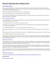 Accounting Clerk Job Descriptionateates Analysis And Accounts