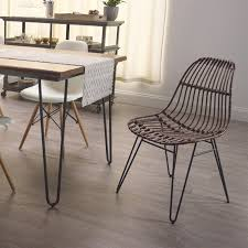 Rattan Kitchen Furniture Rattan Flynn Hairpin Dining Chairs With Rustic Legs Set Of 2