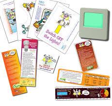 Childs Energy Saving Kit Night Light Magnet Tattoo Ruler Vinyl Cling Sticker Set And Bookmark