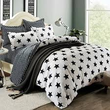 fashionlife bedding collection black star solid simple style 3pcs white duvet cover set soft polyester queen