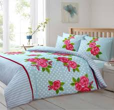 duck egg blue colour polkadot large rose fl design bedding duvet cover set 9604 p jpg