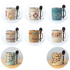 Creative Western Design Ceramic Coffee Mugs Cup Hand Painted Coffee Blue  Sea Travel Mug Milk Tea