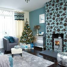 Festive Teal And Silver Living Room Scheme  Silver Highlights Silver And Blue Living Room