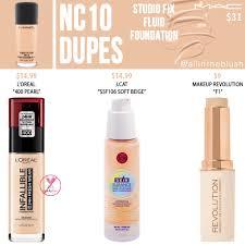 <b>MAC NC10</b> Studio Fix Fluid Foundation Dupes - All In The Blush