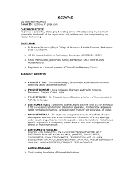 Awesome Resume Samples For Pharmacy Freshers Gallery Simple