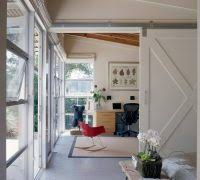 barn door decor home office contemporary with polished concrete floor beige ceiling