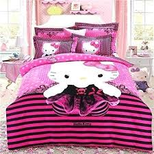 Hello Kitty Bed Set Full Size Pink Butterfly Bedding Cute Cartoon Kids Home Kitchen