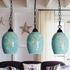 turquoise pendant lighting. 3light colored glass pendant lights handmade for bedroom turquoise lighting