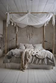bamboo poster bed.  Bed Shabby Chic Furniture Boho Style Bedroom Bamboo Four Poster Bed Sheepskins Throughout Bamboo Poster Bed