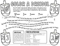 Small Picture Dreidel Coloring Page Includes meaning of the Hebrew letters and