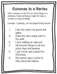 Commas In A Series Worksheet By Valnt Teachers Pay Teachers