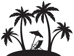 back of beach chair silhouette. Palms And Beach Chair Silhouette PNG Clip Art Back Of