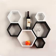 Small Picture Designer Hexagon Shelves by DecorNation Black White