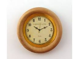 dolls house round light oak wooden wall clock miniature 1 12 accessory