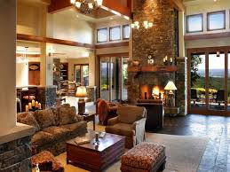 French Country Style Kitchen  Living Room In Beamed Ceiling And Country Style Living