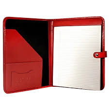 red inside italian leather writing pad