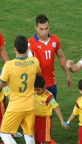 vargas. vargas shaking hands with the australian team before their group match at 2014 fifa world cup s
