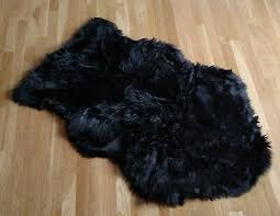 details about sheepskin black bear faux fur area rug gy rugs home accents