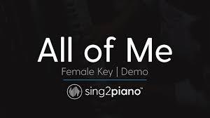 all of me female key karaoke demo john legend