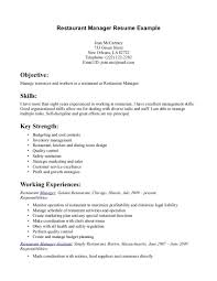 Restaurant Resume Objectives Restaurant Resume Objective Cover