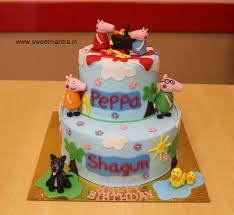 Peppa Pig And George Theme 2 Layer Customized Fondant 3d Birthday