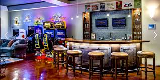 Fab Basement Man Cave Added Curved Counter Bar Having Rounded Stools As  Well As Game Machine As Inspiring Video Game Room Ideas