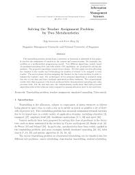 solving the teacher assignment problem by two metaheuristics pdf  solving the teacher assignment problem by two metaheuristics pdf available