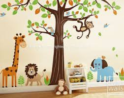 room appealing jungle wall art cute owl murals forest big tree hanging monkey in branch giraffe lion elephant leaf birds fascinating pictures box on jungle wall art for baby room with wall art adorable pictures about jungle wall art jungle wall