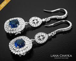 navy blue cubic zirconia bridal earrings blue silver crystal earrings bridal dangle earrings chandelier wedding earrings bridal jewelry 37 50 usd