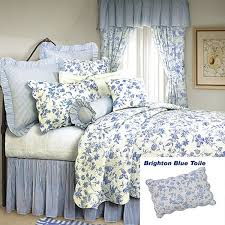 french country shabby chic brighton blue toile quilt classic blue fl toile on white background