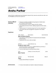 Music Resume Format For College Samples Objective Vocal Professional